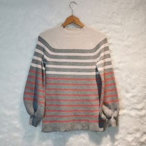 LOFT Stripped Poofy Sleveed Sweater